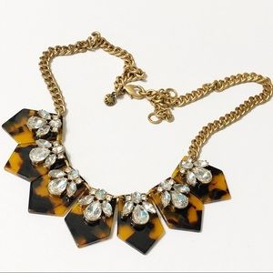 J. Crew • Tortoise Shell Crystal Cluster Necklace